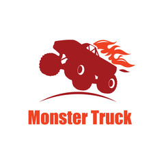Extreme Monster Truck Off Road Fire Jumping Logo