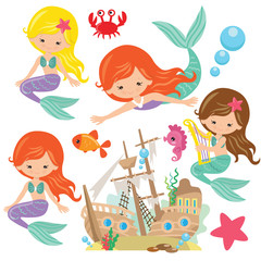 Cute mermaid  vector cartoon illustration