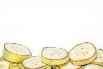 Banana slices isolated on white background.