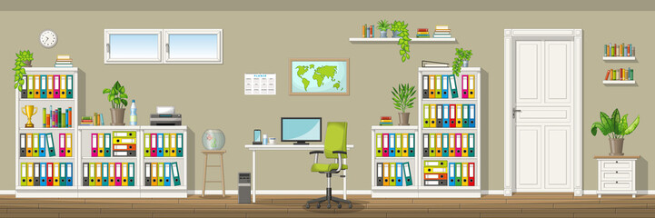 Illustration of a classic homeoffice