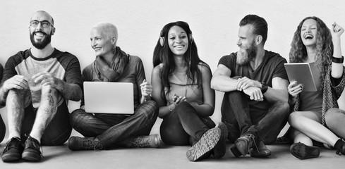 Diverse Friends Group Team Together Trendy Concept Fotoväggar