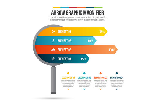 Arrow Graphic Magnifying Glass Infographic
