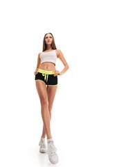 sporty fitness woman. long legs