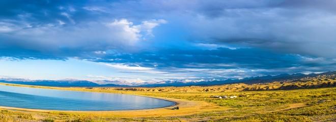 Panorama of Lake Issyk-Kul, Kyrgyzstan.
