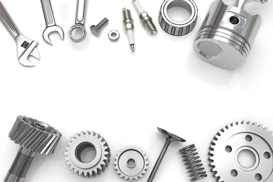 Set fo Tools And Gear on white background, Engine pistons, Working tools. 3D illustration