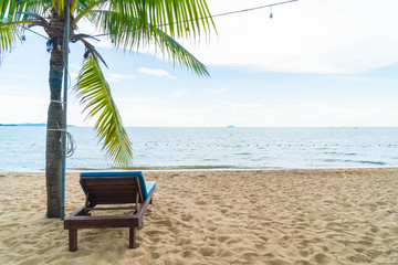 Beach chair, Palm and tropical beach at Pattaya in Thailand