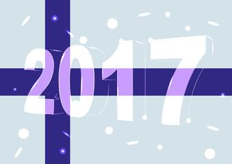 Новый 2017 год на фоне флага Финляндии