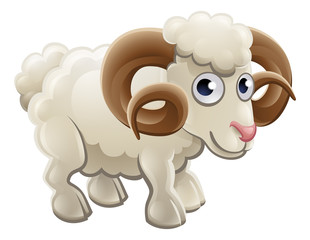 Cartoon Cute Ram Farm Animal