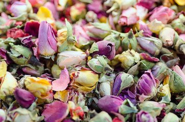 Dried roses buds as a background. Rose tea mixture