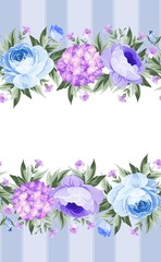 Border with blooming spring flowers in vintage style with vertical tile lines and clear text space. Border of blue flowers in vintage style. Floral invitation card. Vector illustration.