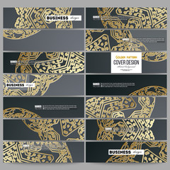 Set of modern banners. Golden microchip pattern on dark background with connecting dots and lines, connection structure. Digital scientific vector