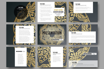 Set of 9 templates for presentation slides. Golden microchip pattern on dark background with connecting dots and lines, connection structure. Digital scientific vector