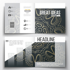 Set of annual report business templates for brochure, magazine, flyer or booklet. Polygonal backdrop with golden connecting dots and lines, connection structure. Digital scientific background