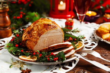 Christmas baked ham, served on the old plate.