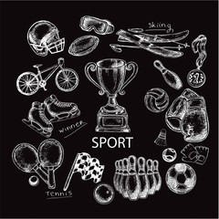 hand drawn sketch illustration sport items set on the black back