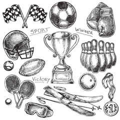 hand drawn sketch illustration sport items set