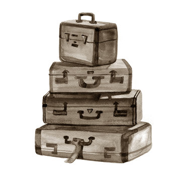 Hand drawn watercolor illustration of Vintage suitcases