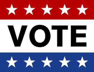 Vote on election day red, white and blue with stars display poster