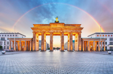 Berlin Brandenburger gate with rainbow.