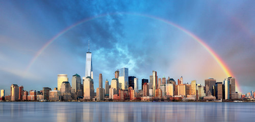 Wall Mural - New York City with rainbow, Downtown