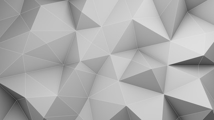 White low poly 3D surface chaotic deformed