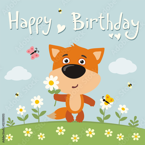 Happy Birthday Cute Fox With Flower Camomile On Flower Meadow
