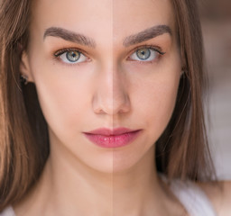 Beauty concept - retouch before and after. Beautiful woman with blue eyes.