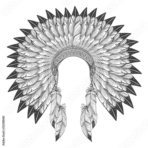 Native american indian headdress with feathers. Vector war bonnet ...