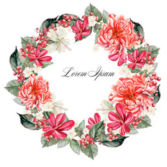 Beautiful watercolor wreath with flowers peonies and hibiscus, berries currant. Illustrations