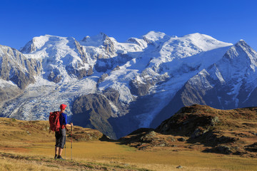 Fotomurales - Hiker in a meadow looking towards Mont Blanc, near Chamonix, France.