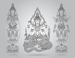 shiva of line thai tradition,buddha jewelry set