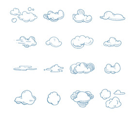 vector Doodle big set of Hand Drawn Clouds