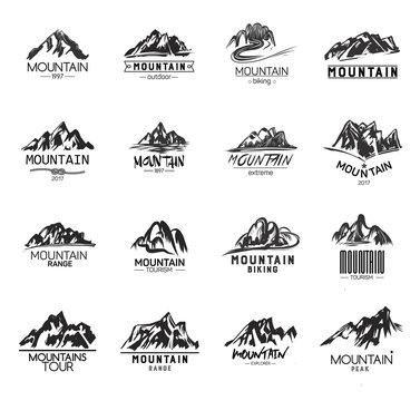 Mountain Icons Set on White Background. Monochrome mountains logos.