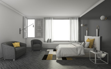 3d rendering dark tone bedroom with soft and nice furniture