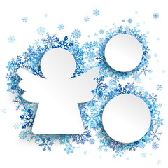 Christmas Angel 2 Circles Blue Snowflakes