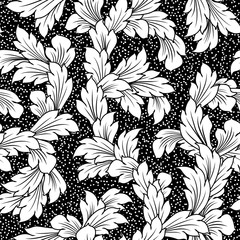 seamless baroque leaves black floral background
