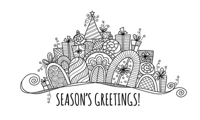 Season's Greetings Modern Christmas Banner doodle vector illustration with the words season's greetings under a banner of presents, baubles, a christmas tree, swirls and stars.