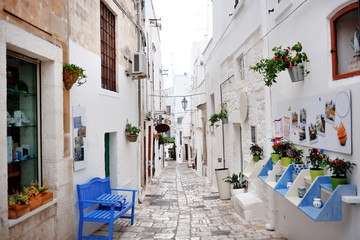 Apulia, Italy - alley of the white city Ostuni Fototapete