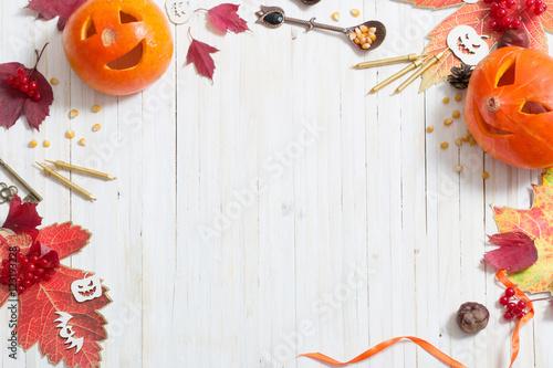 halloween decoration on white wooden background