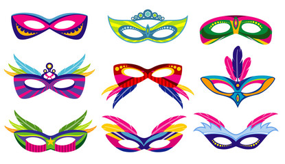Isolated color mardi gras masks vector collection