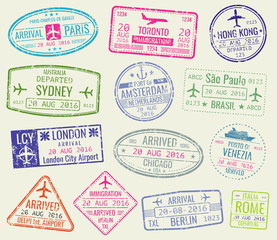 International travel visa passport stamps vector set