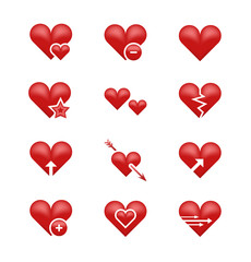 Heart love emoji, emoticons vector set