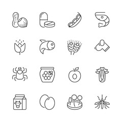basic allergens thin line icons