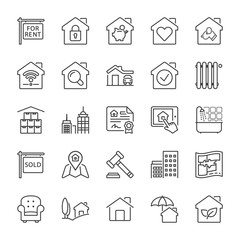 building and real estate line iconset 1