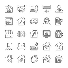 building and real estate line iconset 2