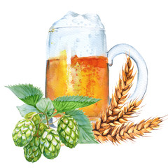 Mug with beer. Isolated on a white background. Watercolor illustration.