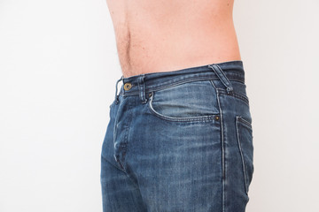 Close up of one man belly after the diet