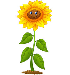 Cartoon smiling sunflower