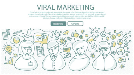 Viral Marketing Banner in Linear Style. Vector