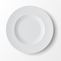 White Empty Round Soup Plate Top View Isolated on Background